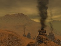 Artist's concept of Volcanic Activity on the Surface of Venus Fine Art Print