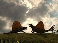 Dimetrodon Fight Over Territory by Walter Myers - various sizes, FulcrumGallery.com brand