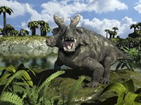 An Estemmenosuchus Mirabilis Stands Before a Lake 255 Million years ago by Walter Myers - various sizes