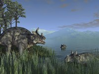 Three Estemmenosuchus Mirabilis Face off in a Paleozoic Lake by Walter Myers - various sizes