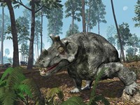 A Herbivorous Dinocephalian Therapsid Grazes on a Hilltop by Walter Myers - various sizes