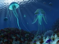 A Swarm of Jellyfish Swim the Panthalassic Ocean by Walter Myers - various sizes