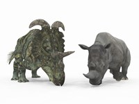 An Adult Albertaceratops Compared to a Modern adult White Rhinoceros by Walter Myers - various sizes