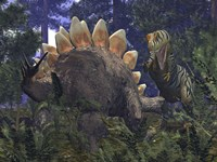 An Allosaurus Stumbles upon a Grazing Stegosaurus by Walter Myers - various sizes - $47.99