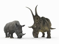 An Adult Diabloceratops Compared to a Modern adult White Rhinoceros by Walter Myers - various sizes