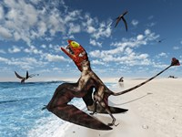 Winged Dimorphodon Pluck Fish from the Early-Jurassic Tethys Ocean by Walter Myers - various sizes - $47.99
