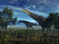 Isisaurus Dinosaurs Wander Lush Plains by Walter Myers - various sizes