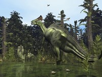 A Lambeosaurus Rears onto its Hind Legs in Response to a Threat by Walter Myers - various sizes