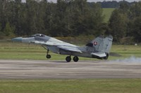 A Slovak Air Force MiG-29AS Fulcrum Landing on the Runway Fine Art Print