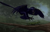 Microraptor Hunting a Small Lizard on a Tree Branch Fine Art Print