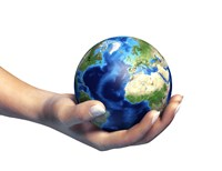 Human Hand Holding Planet Earth Fine Art Print