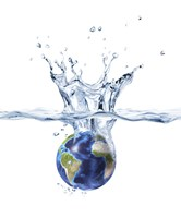 Planet Earth Falling into Clear Water, Forming a Crown Splash by Leonello Calvetti - various sizes