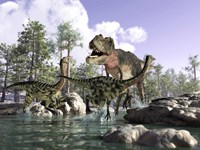 A Tyrannosaurus Rex Hunting two Gallimimus Dinosaurs in a River by Leonello Calvetti - various sizes