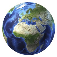 3D Rendering of Planet Earth, Centered on Africa and Europe by Leonello Calvetti - various sizes