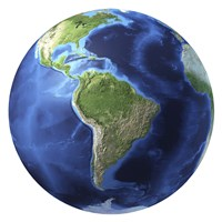 3D Rendering of Planet Earth, Centered on South America by Leonello Calvetti - various sizes