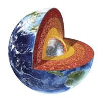 Cross Section of Planet Earth Showing the Inner Core by Leonello Calvetti - various sizes