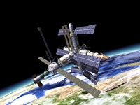 Space Station in Orbit Around Earth