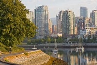 Cyclist on Seawall Trail, Vancouver, British Columbia by Chuck Haney - various sizes, FulcrumGallery.com brand