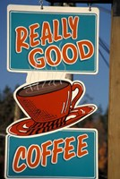 Coffee Sign on Vancouver Island, British Columbia, Canada Fine Art Print