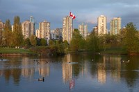 Apartments reflected in Vanier Park Pond, Vancouver, British Columbia, Canada Fine Art Print