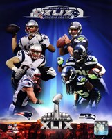 Super Bowl XLIX Seattle Seahawks Vs. New England Patriots Match Up Composite Fine Art Print