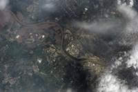 Satellite view of Kansas City, Missouri, and Missouri River - various sizes