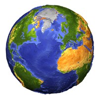 Full view of the Earth Showing Topographic Data Fine Art Print