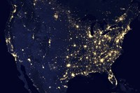 City Lights of the United States at Night - various sizes