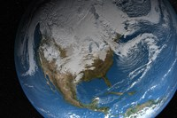 Ful Earth Showing Simulated Clouds over North America - various sizes, FulcrumGallery.com brand