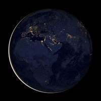 Full Earth Showing City Lights of Africa, Europe, and the Middle East - various sizes