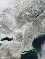 Satellite View of a Large Nor'easter Snow Storm over United States - various sizes