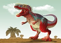 Colorful Illustration of an Angry Tyrannosaurus Rex - various sizes