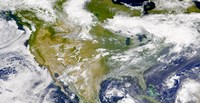 Satellite view of North America with Smoke Visible in Several Locations - various sizes