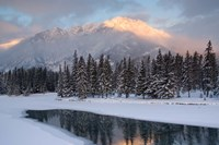 View of Mt Edith and Sawback Range with Reflection in Spray River, Banff, Canada Fine Art Print
