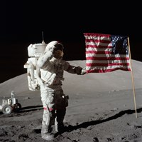Apollo 17 Astronaut Salutes the United States Flag on the Lunar Surface Fine Art Print