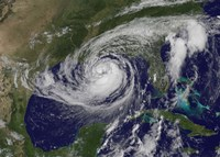 Satellite view of Tropical Storm Isaac in the Gulf of Mexico - various sizes
