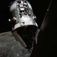 View of the Apollo 17 Command and Service Modules in Lunar Orbit - various sizes
