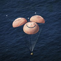 The Apollo 16 Command Module approaching Touchdown in the Central Pacific Ocean Fine Art Print