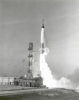 A NASA Project Mercury Spacecraft is test Launched from Cape Canaveral, Florida - various sizes