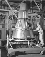 Project Mercury Capsule Complete in Lewis Hangar Framed Print