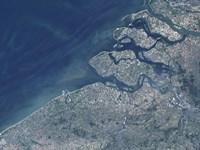 Satellite view of the Belgium Coastline - various sizes