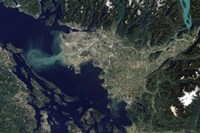Satellite view of the Frasier River, British Columbia, Canada - various sizes