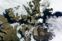 Satellite view of Parry Channel and McClure Strait in the Northwest Passage - various sizes