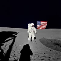 Apollo 14 Astronaut Stands by the American Flag on the Lunar Surface Fine Art Print