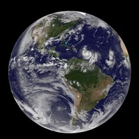 Full Earth showing two Tropical storms Forming in the Atlantic Ocean - various sizes