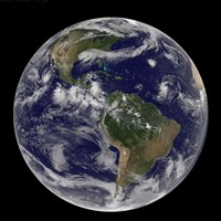 Full Earth Showing Various Tropical Storm Systems - various sizes