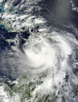Tropical Storm Isaac Moving through the Eastern Caribbean Sea - various sizes