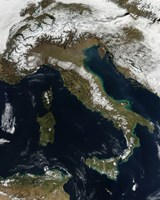 Satellite View of Snow in Italy - various sizes