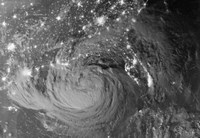 Nighttime view of Tropical Storm Isaac - various sizes