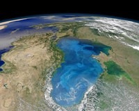 Satellite view of Swirling Blue Phytoplankton Bloom in the Black Sea - various sizes